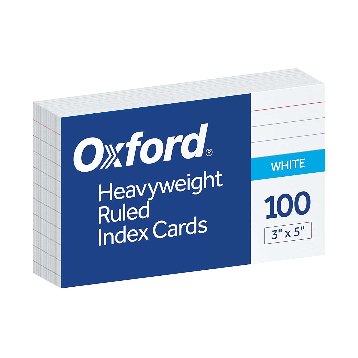 Oxford Heavy Weight Index Cards, 3 x 5, Ruled, White, 100/Pack (63500) 3 x 5 Esselte Corporation