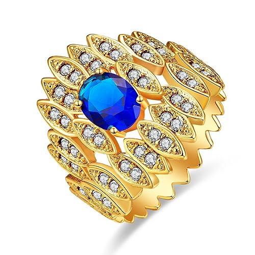 Yazilind Brilliant Zirkon Ringe Intarsien Strass vergoldet Engagement f/ür Damen