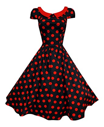 Ladies 1940's 1950's Retro Vintage Style Polka Dot Red Collar Flared Swing  Dress