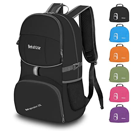 Bekahizar Lightweight Backpack 35L Foldable Hiking Daypack Backpack Water  Resistant Camping Travel Day Bag 4aafe8499e724