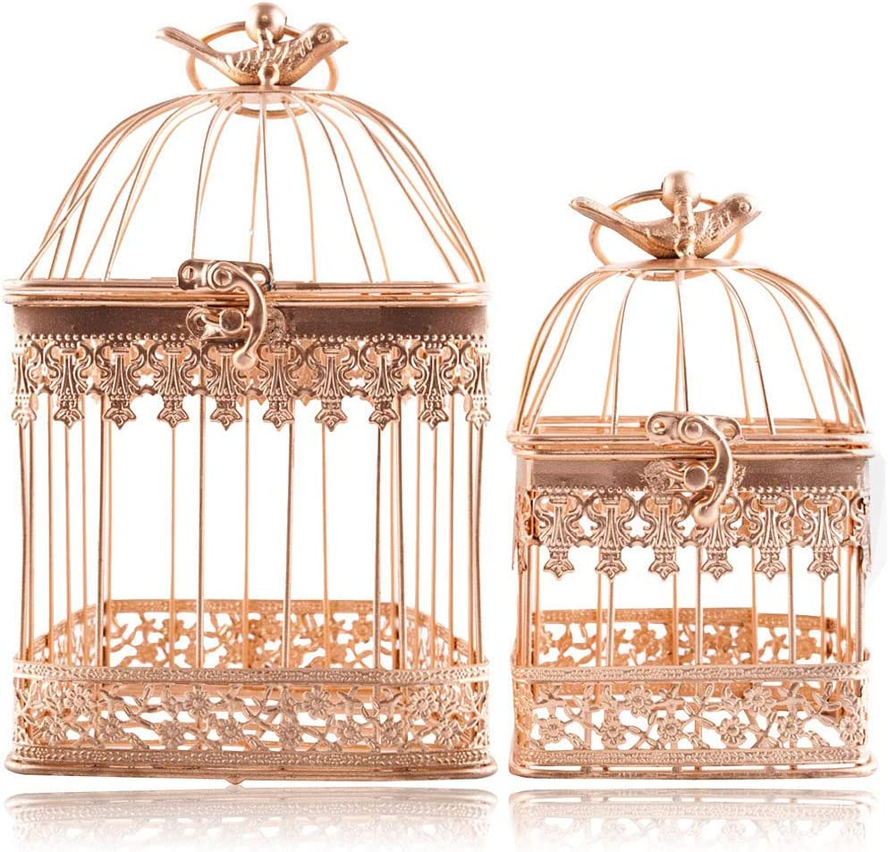 2Pcs White Metal Wedding Birdcages Gifts Card Holder Vintage Decorative Hanging Candle Latern Beautiful Wedding Reception Piece Bird Cages for Small Birds Home Decorations Party Accessories (Gold)