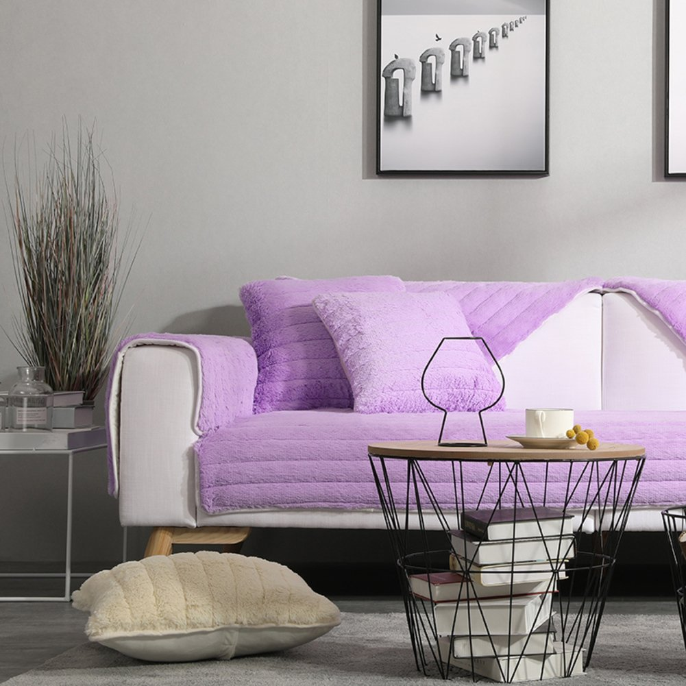 Purple 110x180cm(43x71inch) Purple 110x180cm(43x71inch) WYSMao [plush] Sofa slipcovers,Solid color thicken Sofa towel covers Pet predection,Couch covers for pets dogs,Sofa predector-purple 110x180cm(43x71inch)
