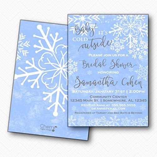 baby its cold outside winter snowflake bridal shower invitations envelopes included