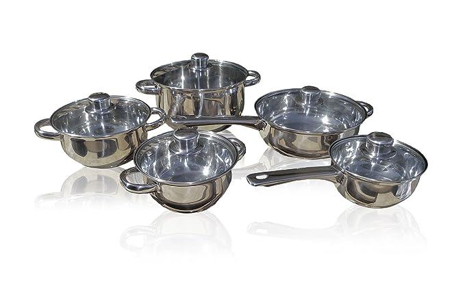 Set 10 ollas sartenes y cazuelas de acero inox con tapa 587602: Amazon.es: Hogar