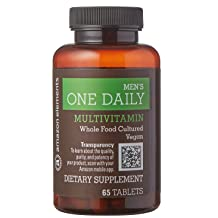 Amazon Brand - Amazon Elements Men's One Daily Multivitamin, 62% Whole Food Cultured, Vegan, 65 Tablets, 2 month supply