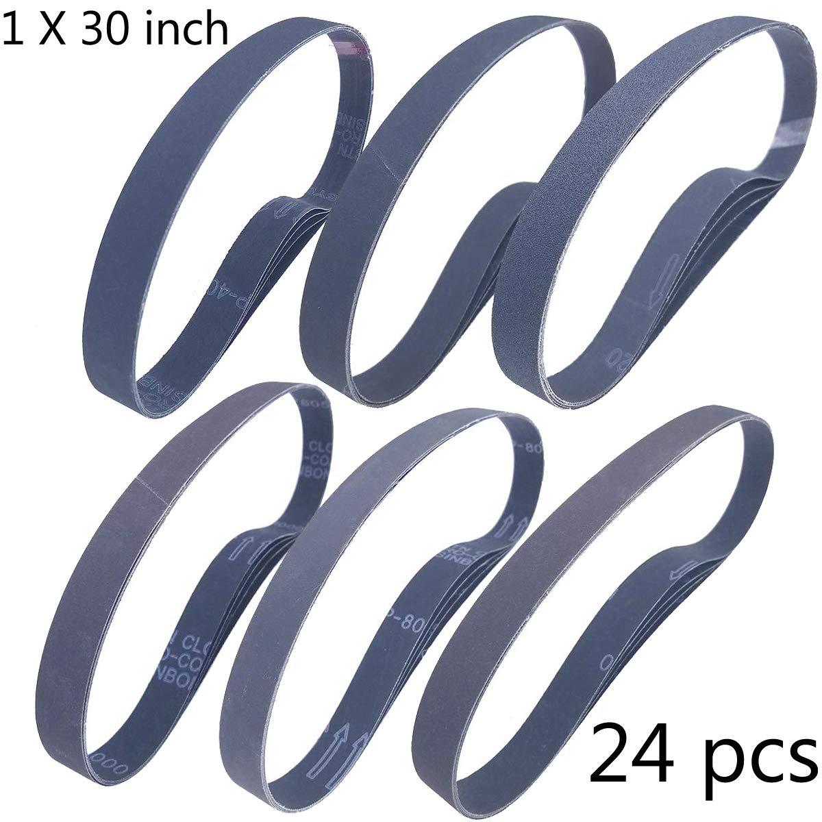 Sackorange 1 x 30 Inch High Performance Silicon Carbide Sanding Belts - Premium Knife Sharpening Sanding Belts Assortment 120 240 400 600 800 and 1000 Grits - 24 Pack