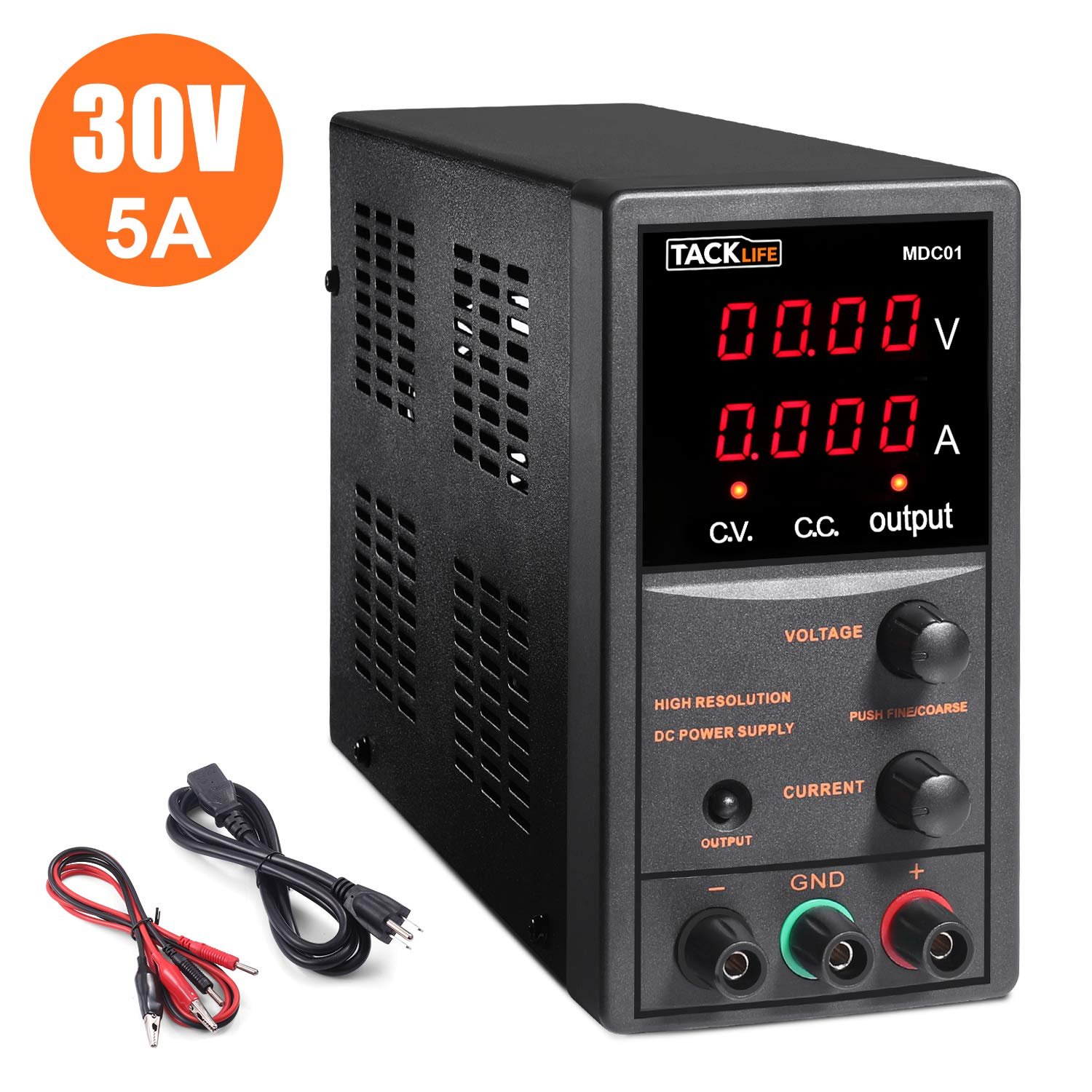 DC Power Supply Variable, Tacklife 4 digital LCD display (0-30V/0-5A) Switching DC Regulated Power Supply, Reverse polarity/high temperature protection, with 110V/115CM Alligator Leads