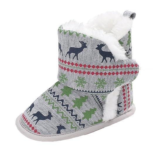 YanHoo Zapatos para niños Botas de algodón para bebé Elk Christmas Botas para la Nieve con Suela Blanda Baby Baby Zapatos de Cuna Suaves Botas para niños ...