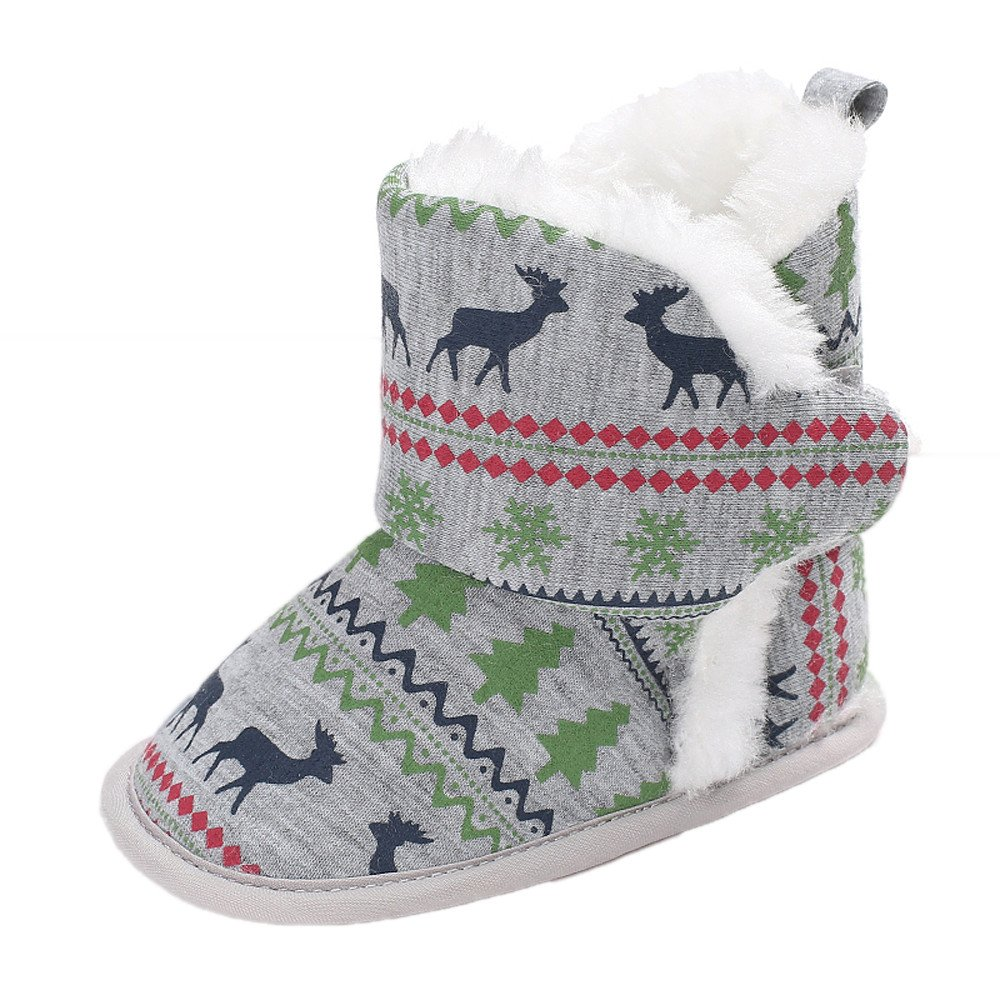 Christmas Baby Girls Boys Cozy Fleece Booties - Winter Warm Socks Elk Cotton Lined Soft Sole First Walker Crib Shoes
