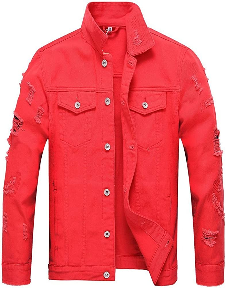 LifeHe Mens Slim Fit Red Distressed Denim Jean Jacket Black