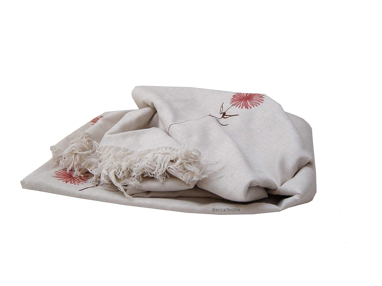 Tela lino y flores, manta o colcha decorativa pintada a mano ...