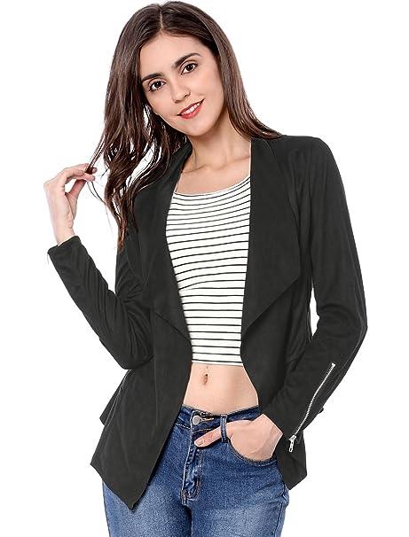 1ad5788de68 Allegra K Women s Zip up Cuffs Draped Open Front Faux Suede Jacket ...