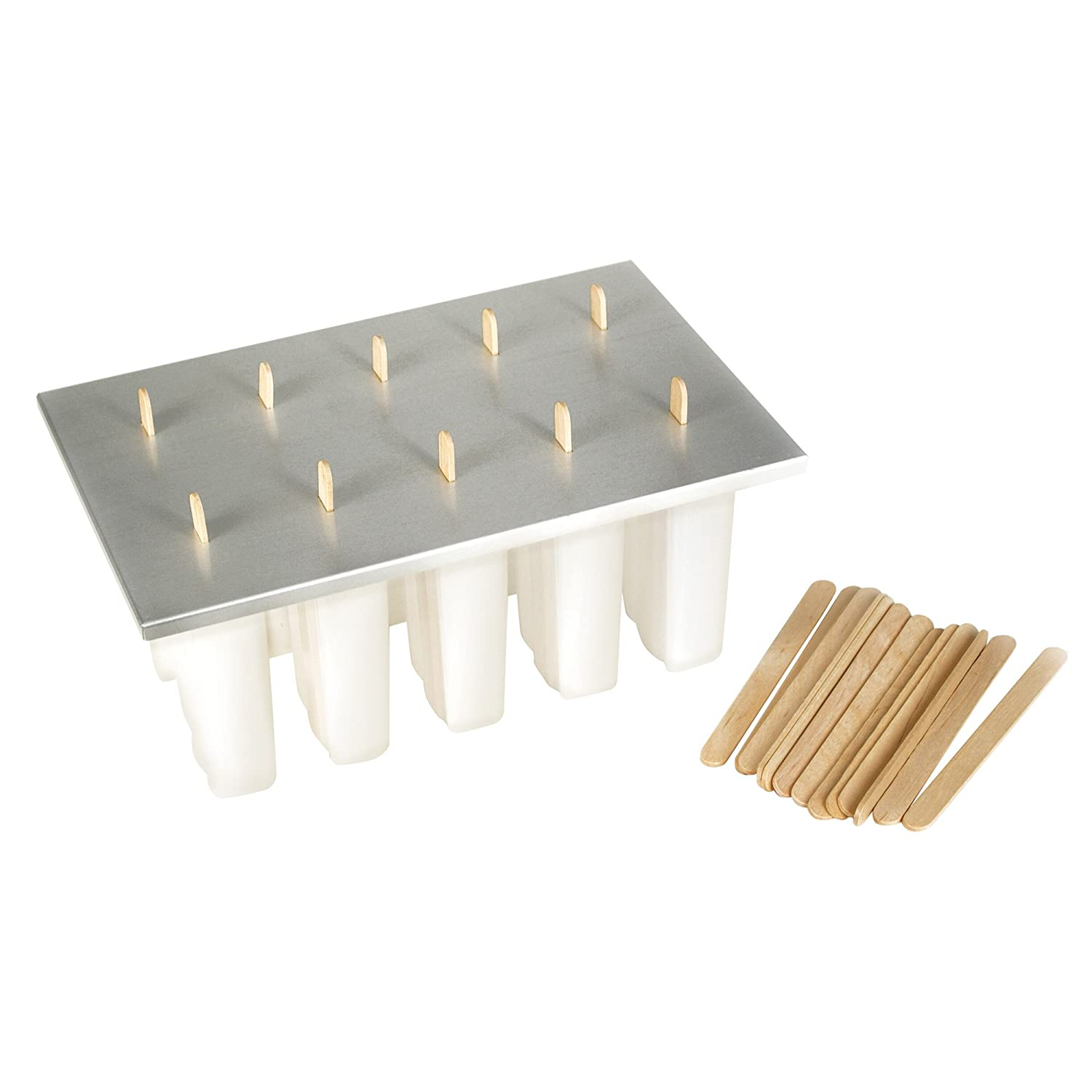 Fox Run 50302COM Reusable Frozen Ice 24 Popsicle Sticks Pop Maker Aluminum Cover