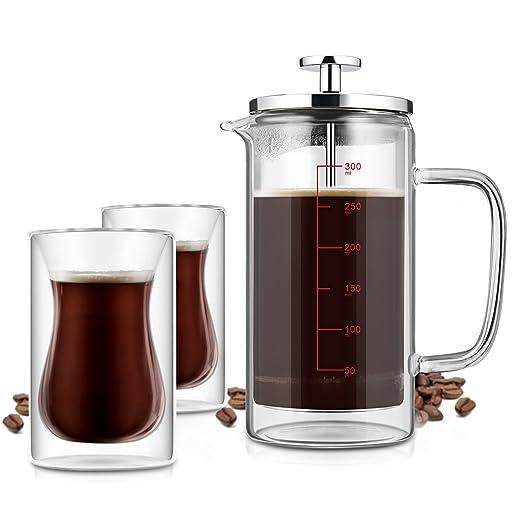 Cafetera francesa para hacer té con 2 vasos de café, doble pared ...