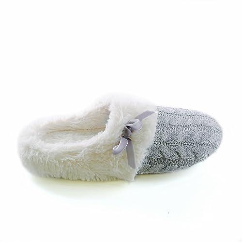 Zapatillas de estar por casa de punto con pelo sintético y lazo (EUR 40/