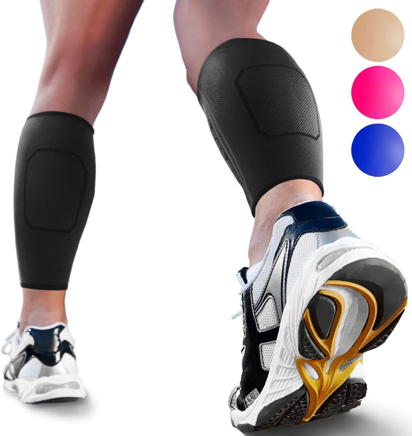 Calf Compression Sleeves by SPARTHOS (Pair) – Leg Compression Socks for Men and Women – Shin Splint Calf Pain Relief Calf Medical Leg Pain and Cramps Recovery Varicose Veins (Black-L)