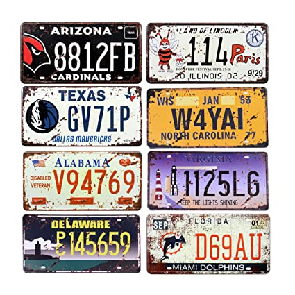 Amazon com: 8 pcs Various US State License Plates, Embossed