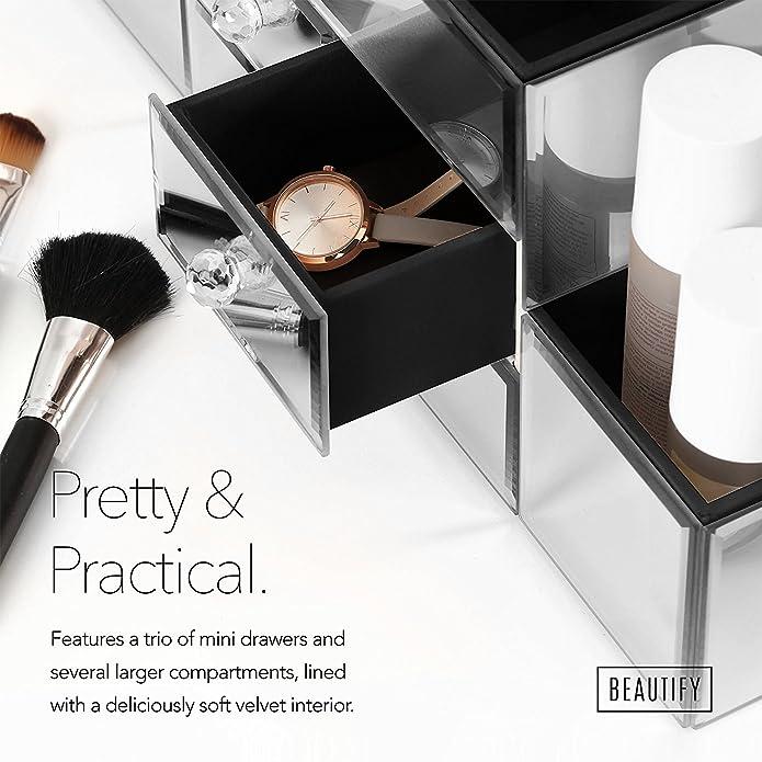 Beautify Joyero de Cristal con Espejos y Organizador de Maquillaje 3 Cajones, 9 Secciones de Guardado y Tapizado en Terciopelo incluye Paño para Limpiar ...