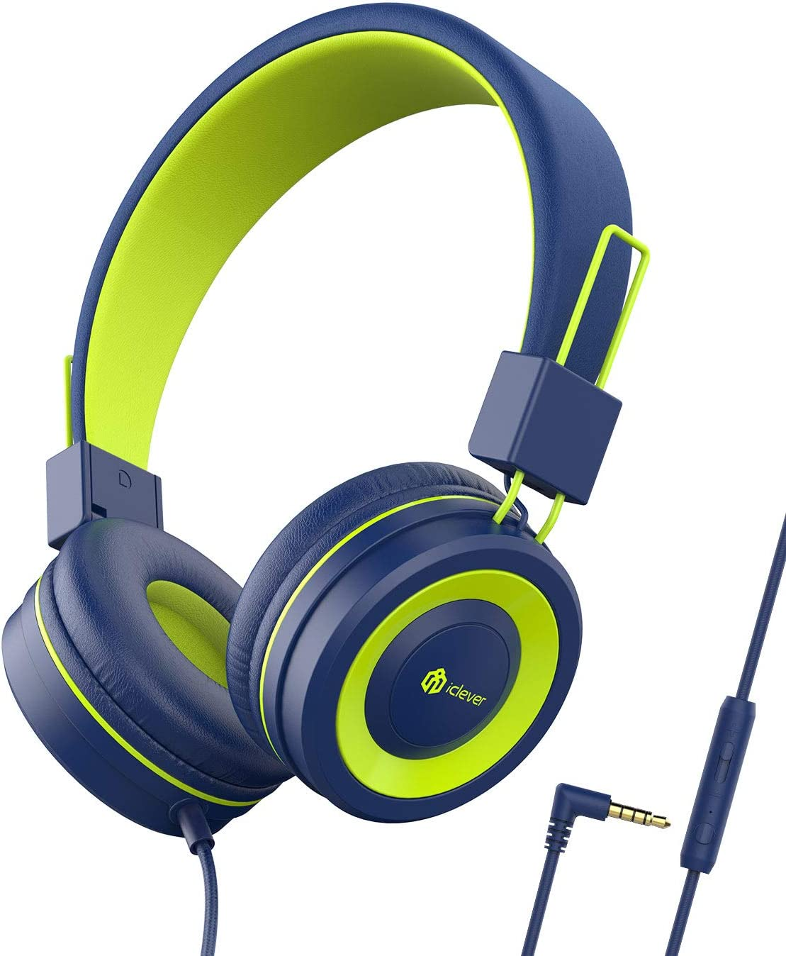 iClever Kids Headphones - Wired Headphones Kids, Adjustable Headband, Stereo Sound, Foldable, Untangled Wires, 3.5mm Aux Jack, 94dB Volume Limited - Childrens Headphones on Ear, Blue (Blue)