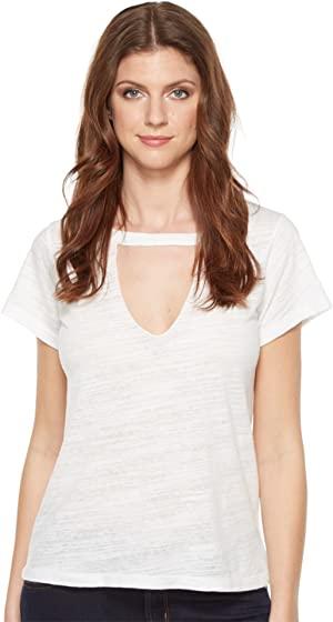 LNA Womens Short Sleeve Cut Out V