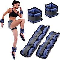 BAKAJI Set van 4 polsgewichten en kuitgewrichten, 2 kg + 1 kg, aerobic fitness krachttraining van neopreen met…