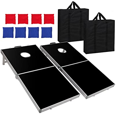 Nova Microdermabrasion Folding 4ft X 2ft Cornhole Bean Bag Toss Game Set Aluminum W/Carrying Case for Tailgate Party Backyard BBQ: Sports & Outdoors