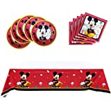Mickey Mouse Party Supplies, 20 plates, 20 napkins and 1 tablecloth,Mickey theme party birthday party supplies