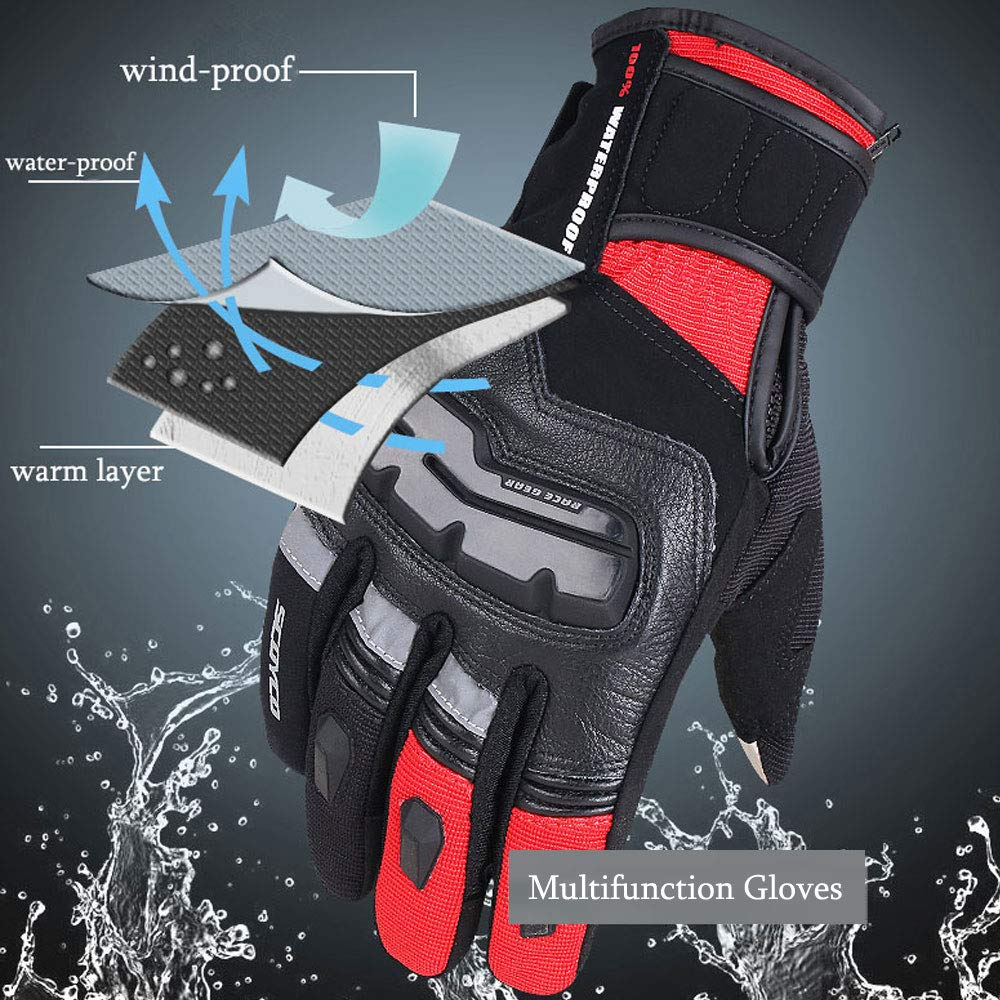 BLUE,L SCOYCO Mens Motorcycle Gloves,with Microfiber Hard Knuckle for Powersports,Motorbike,Scooter,Cycling Gloves