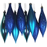 Northlight 8ct Lavish Blue Shatterproof 4-Finish Finial Drop Christmas Ornaments 5.5""