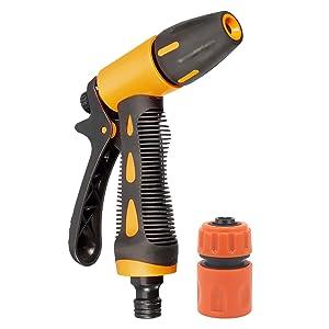HOKIPO® High Pressure Garden Hose Nozzle Water Spray Gun with Connector