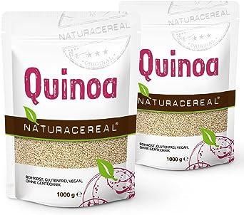 NATURACEREAL - Quinoa Blanca Premium (2 x 1kg) - | Mayor contenido de minerales que el arroz, | Rico en fibras y proteínas | Libre de gluten | Vegano ...