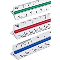 """12"""" Inch Triangular Architect Scale Ruler Aluminum Color-Coded Grooves 30cm Ruler (Imperial Ruler) Megade"""