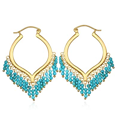 Amazon satya jewelry turquoise gold plate chandelier hoop amazon satya jewelry turquoise gold plate chandelier hoop earrings jewelry aloadofball Choice Image