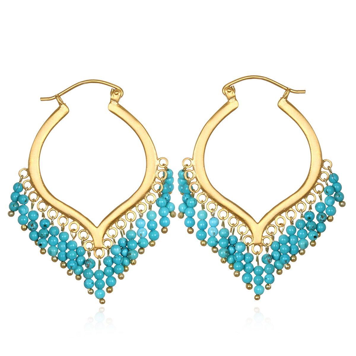 Satya Jewelry Turquoise Gold Plate Chandelier Hoop Earrings