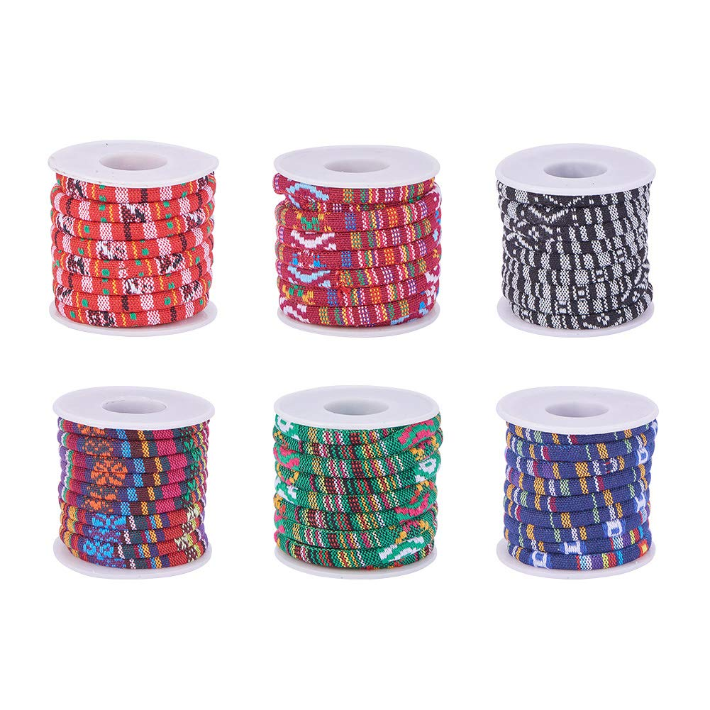PH PandaHall 6 Rolls Ethnic Cloth Rope Cords Bracelet Making DIY Home Decoration About 5yards/roll by PH PandaHall