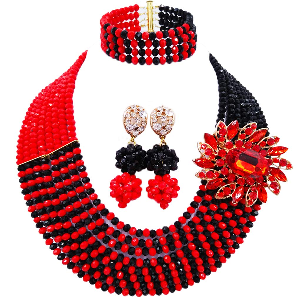 laanc Jewellery 8 Rows Red and Multicolor Gradient Crystal African Beads Nigerian Wedding Jewelry Sets (Opaque Red Black)