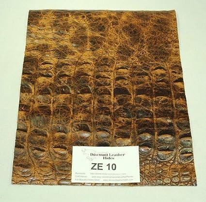 WOW!Texas Western Brown CROC Print Craft Leather Piece 6x 6 ZE10