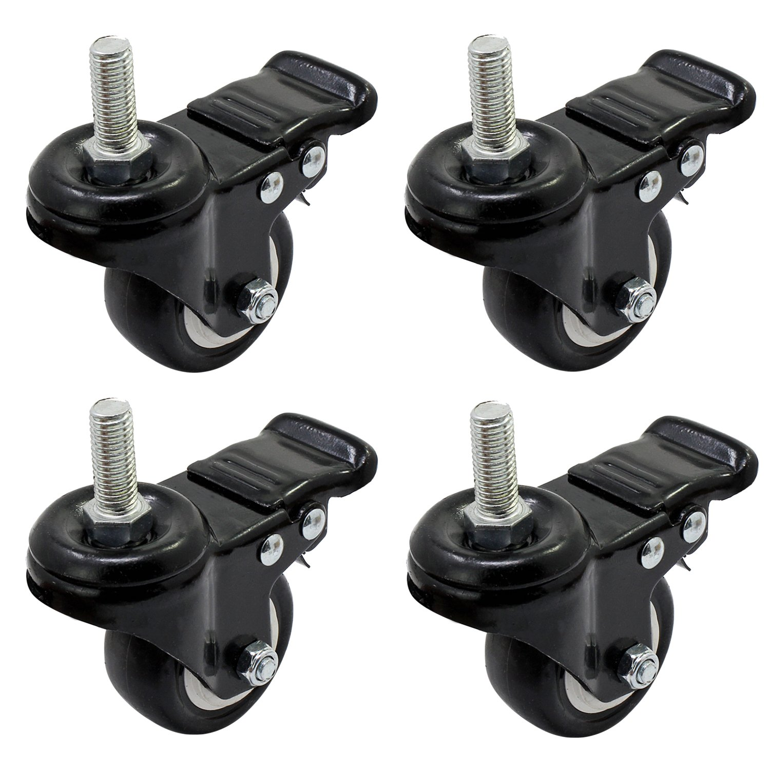 OCR 38MM Caster Rubber Base 360 Degree Caster Rubber Wheel With Brake for Shopping carts, Hand Trolley, Tools, Movable Furniture,Office Chair 4 Pcs Black (1.5''-Threaded shaft Wheel)
