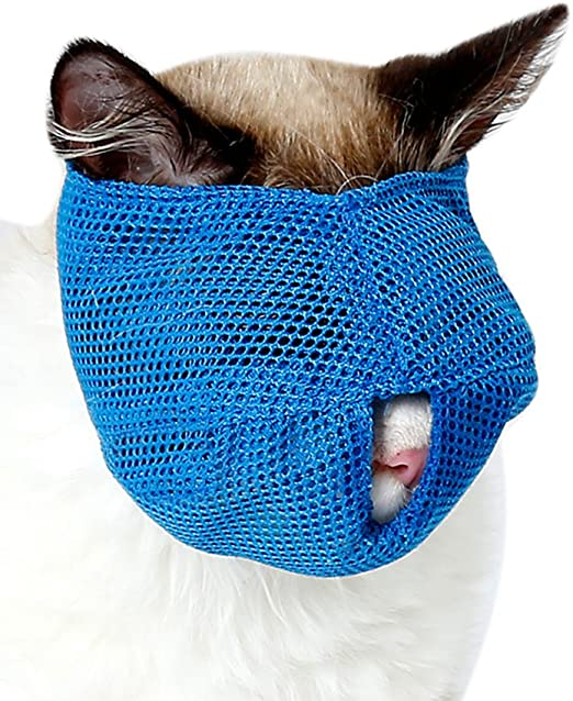 Steellwingsf Malla transpirable Precioso Gato Anti Mordida Bozal Herramienta de viaje Bolsa de Baño Suministros para Mascotas Tamaño S (Azul): Amazon.es: Productos para mascotas