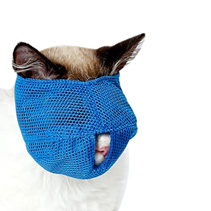 yanbirdfx Breathable Mesh Lovely Cat Anti Bite Muzzle Travel Tool Bathing Bag Pet Supplies Blue S
