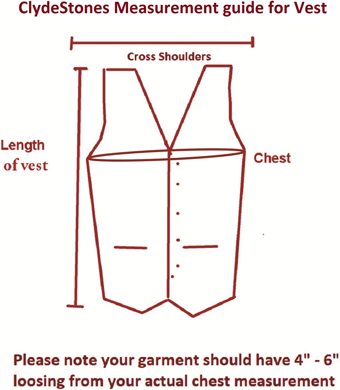 Clydestones Mens Black Sleeveless Leather Biker Vest with Collar