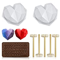 Chocolate Heart Mold, Silicone Molds for Baking Diamond Heart Shaped Cake Mold Trays with 5 Pieces Wooden Hammers Non-Sticky Dessert Cookie Mould Suitable for Home Kitchen DIY Tools