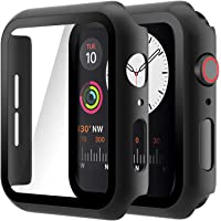 Hianjoo (2 Pack) Case Compatible with Apple Watch SE Series 6 Series 5 Series 4 44mm, Built-in Thin HD Tempered Glass…