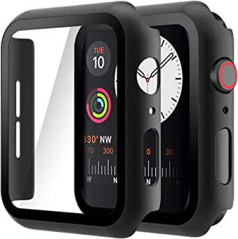 Hianjoo (2 Pack) Case Compatible with Apple Watch SE Series 6 Series 5 Series 4 44mm, Built-in Thin HD Tempered Glass Screen Protector Overall Cover Replacement for iwatch Series SE/6/5/4