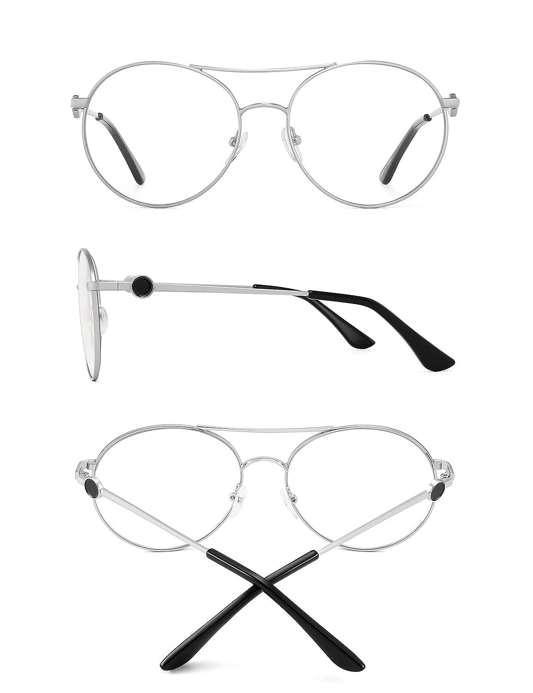 GLINDAR Pilot Blue Light Blocking Glasses Round Metal Computer Glasses Men Women Reduce Eye Strain