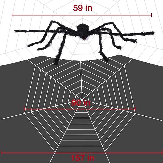 Toile daraign/ée Dense et Extensible de 200 Pieds carr/és pour d/écorations Halloween Joyjoz Halloween Toile daraign/ée avec araign/ée g/éante