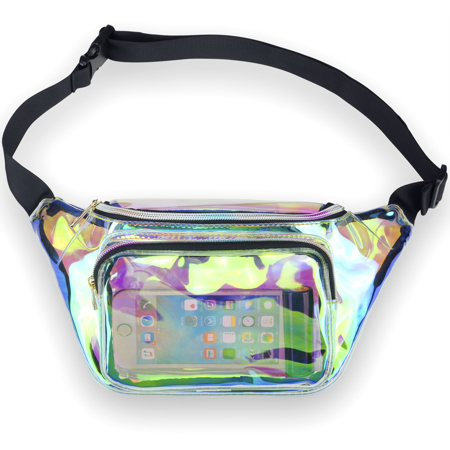 LEADO Holographic Fanny Pack for Women, Fashion Waist Pack for Rave, Festival, Party (Clear)