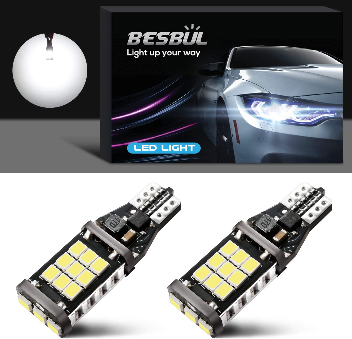 Besbul 921 LED Bulb, 912 Reverse Lights Extremely Bright 2835 21SMD Canbus Error Free T15 LED Bulbs, 906 904 902 W16W Back Up Lights, 6000K Xenon White, Pack of 2