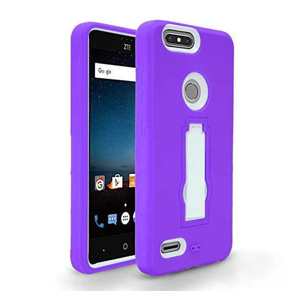 info for 76184 70a6e ZTE Blade Z Max Case, ZTE Sequoia Z982 Case, Heavy Duty Rugged Hard Cover  with Hybrid Dual Layer Shock-Absorption Protection with Kickstand Case For  ...