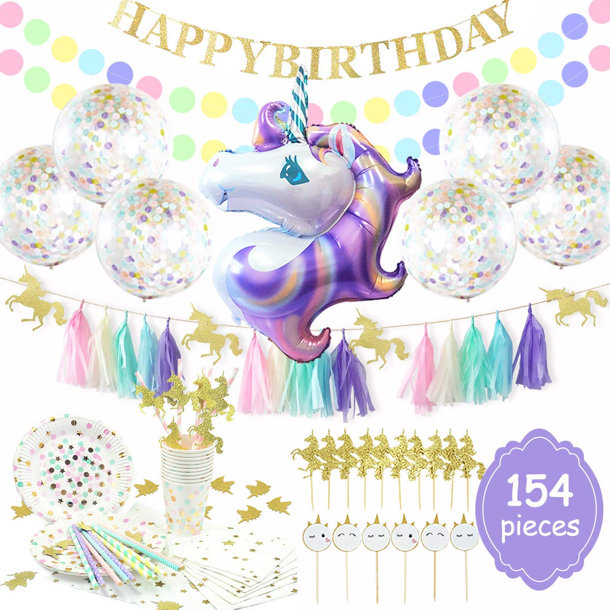 NICROLANDEE 154pcs Unicorn Party Supplies Serves 20 Purple Unicorn Foil Balloon Disposable Biodegradable Paper Tableware Tissue Party Decoration Kit Gold Glitter Happy Birthday Banner